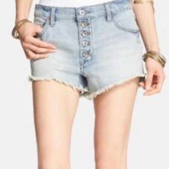 Free People Blue Distressed Raw Hem Jean Shorts